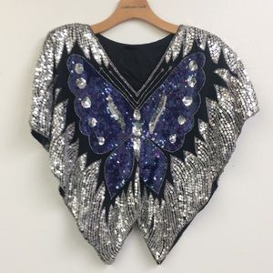 Vintage Silk Sequin Butterfly Blouse